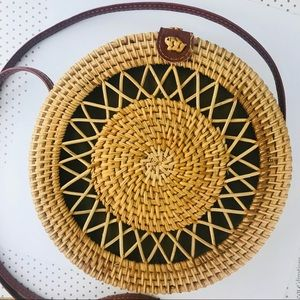 Woven Bag Wicker Rattan Round Boho Basket Purse